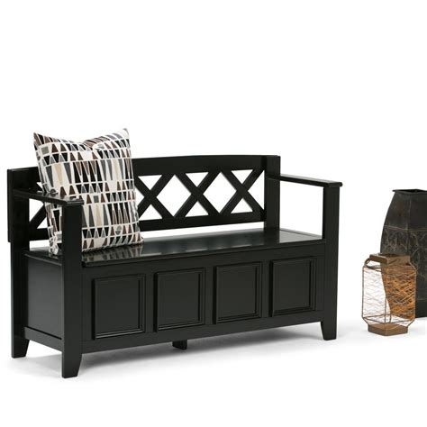 simpli home storage bench simpli home amherst black storage bench axcab bnch b the