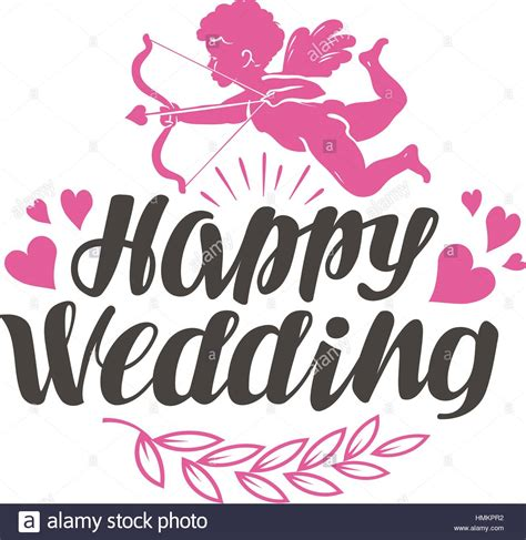 Wedding Appy by Happy Wedding Label With Beautiful Lettering Calligraphy