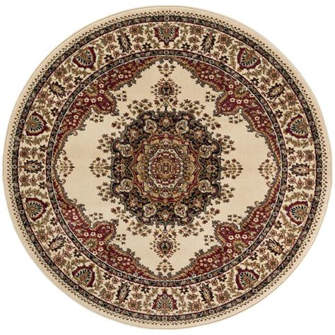 Tayse Rugs Sensation Beige 5 Ft 3 In Traditional Round 5 Foot Area Rugs