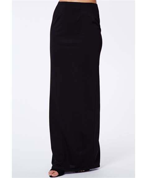 missguided amla black split crepe maxi skirt in black lyst