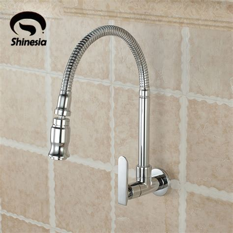 chrome brass single handle hole wall mounted cold water modern chrome finish kitchen sink vessel faucet single