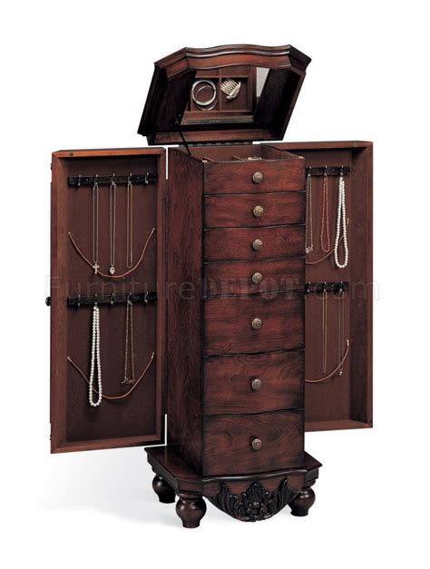 cherry finish jewelry armoire antique cherry finish stylish jewelry armoire w flip top mirror