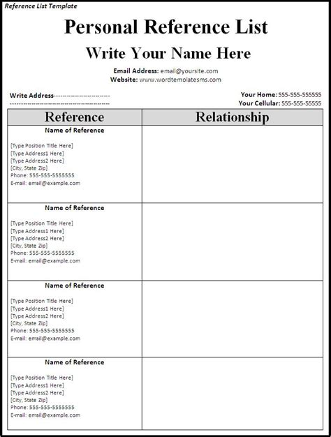 List Of References Template Cyberuse Reference Template Word