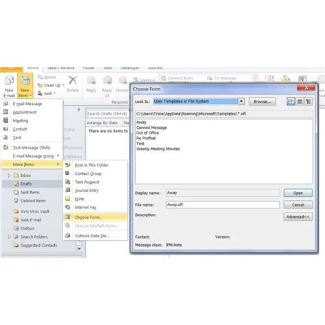 how to open an outlook template creating saving and using microsoft office 2010 outlook