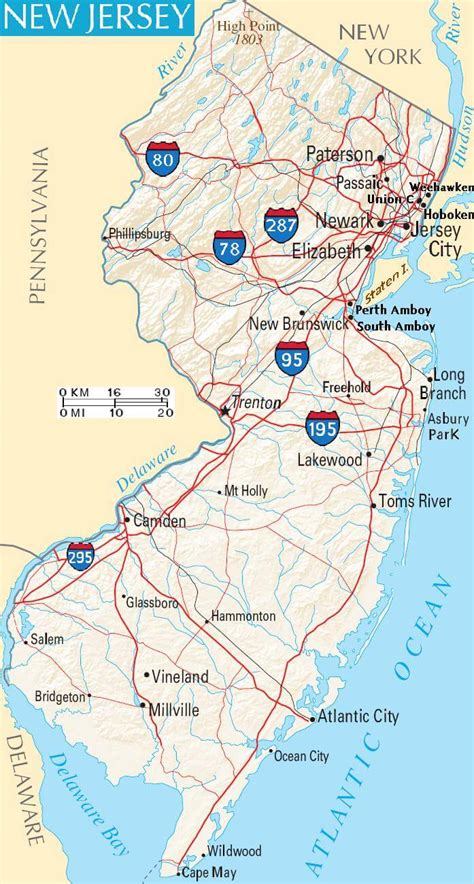 new map usa new jersey map