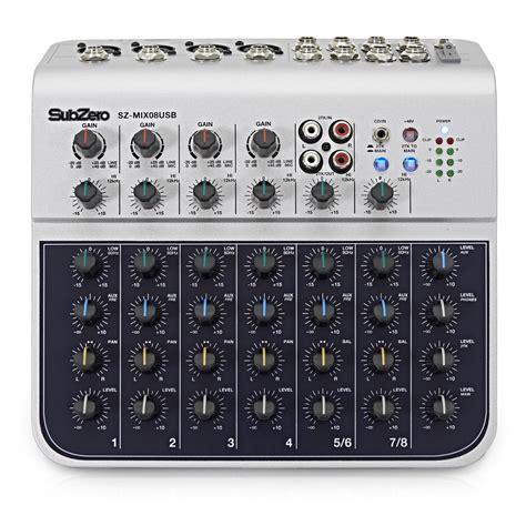 Mixer Cina 4 Channel subzero sz mix08usb 8 channel mini mixer with usb at gear4music