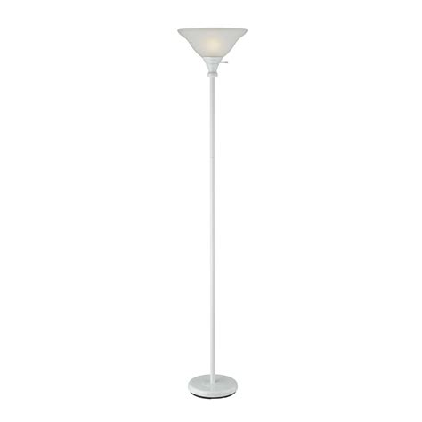 white torchiere floor shop cal lighting 70 in white 3 way torchiere floor l