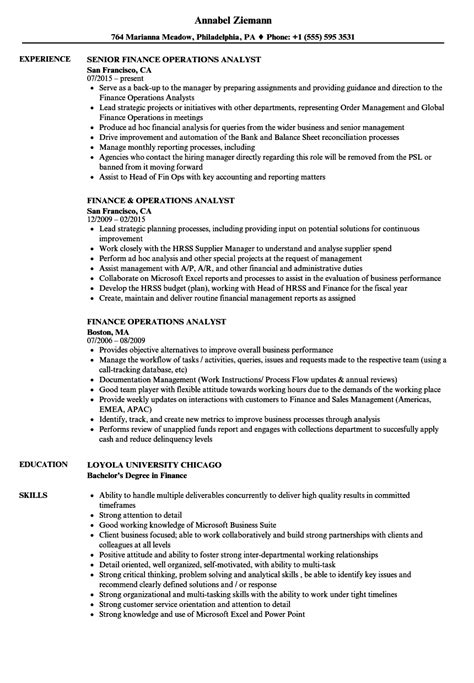 Operations Analyst Resume Exle by Finance Operations Analyst Resume Sles Velvet