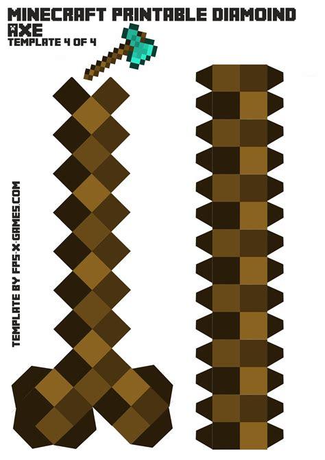 Papercraft Minecraft Sword - minecraft axe printable papercraft template 4 of 4