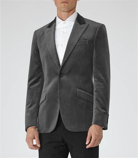 grey blazer reiss magnum velvet blazer in gray for men lyst