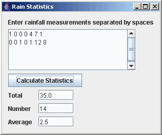 java swing gui exle code java gui model rainfall program
