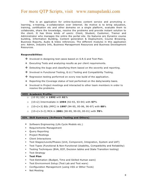 sle resume for qtp automation testing resume ideas