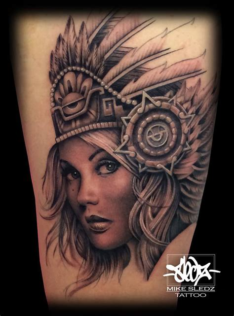 aztec girl tattoo designs aztec