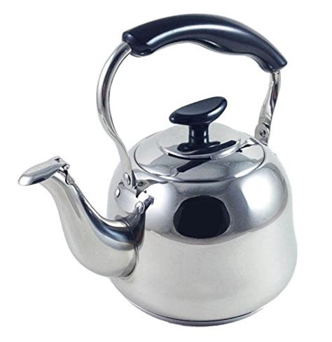 induction electric tea kettle 3 liter alpine cuisine polished mirror finish stainless steel whistling capsule base stovetop