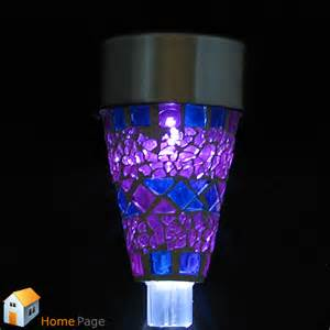 purple outdoor lights 2x purple mosaic designed outdoor garden solar powered