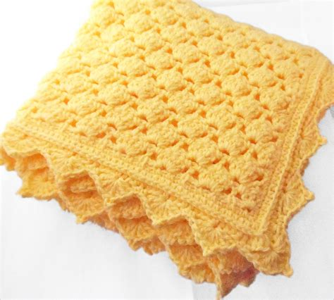 Crochet Crib Blanket Size by Crib Size Crochet Baby Blanket In Solid Yellow Color Lace