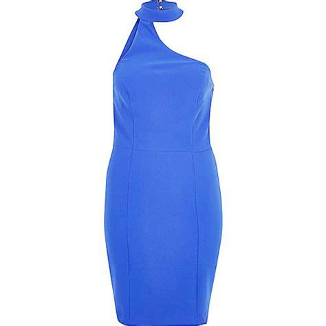 One Shoulder Chocker Dress blue one shoulder choker dress dresses sale