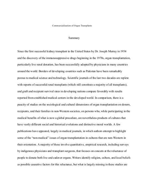 Commercialization Of Essay by Commercialization Of Organ Transplants