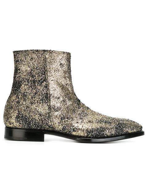 flat boot shoes lyst premiata ankle length flat boots in metallic for