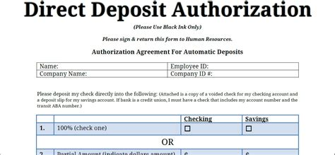 employee direct deposit form template of authorization
