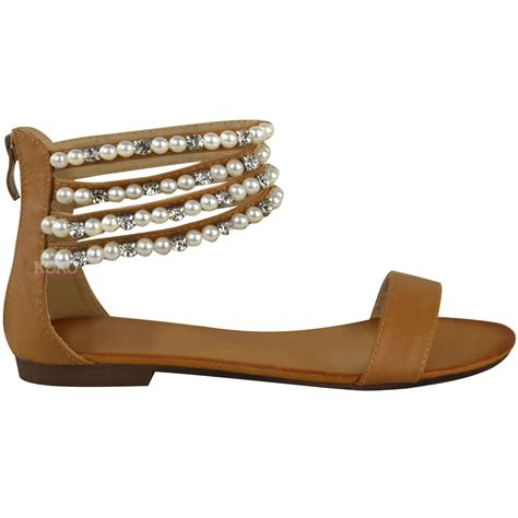 pearl flat sandals womens flat slip on pearl sandals ankle strappy
