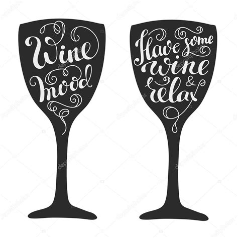 wine silhouette quotes about wine on wine glass silhouette stock vector