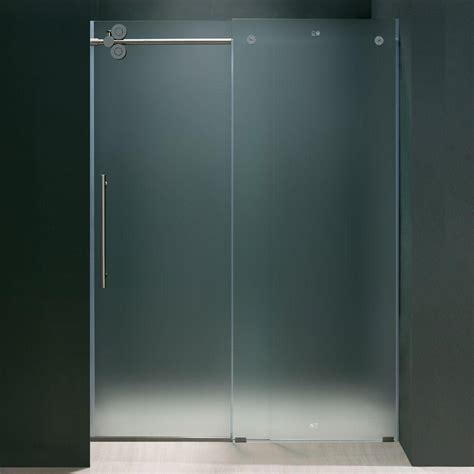 Vigo Frameless Shower Door Vigo Elan 60 In X 74 In Frameless Bypass Shower Door In Chrome With Frosted Glass