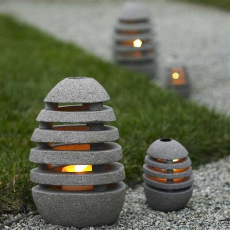 Stone Egg Candle Lanterns Vivaterra Contemporary Outdoor Candle Lights