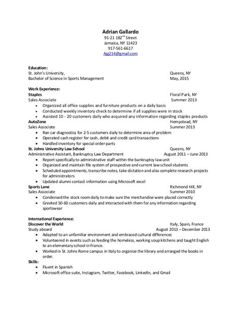 Resume Sles In Jamaica Adrian Gallardo Updated Resume 2014