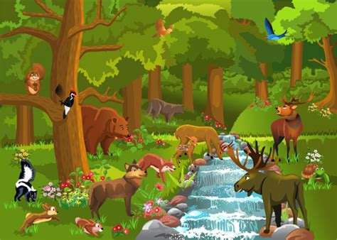 wild animal and natural scenery design vector set 02