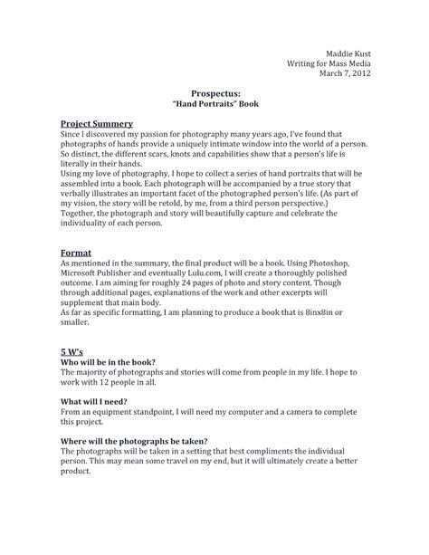 prospectus template compositions project prospectus