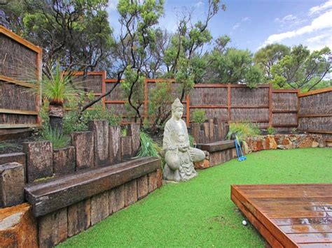 Backyard Ideas Australia Landscaped Garden Design Using Grass With Deck Sculpture Gardens Photo 221543