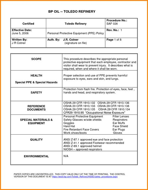 standard of procedure template 10 procedure template cna resumed