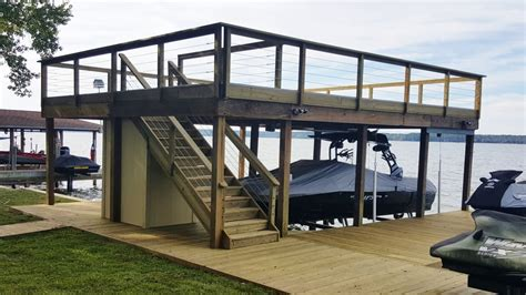 boat lift deck lake conroe boat house with upper deck boat lift and