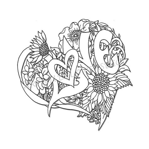 love coloring pages for adults items similar to wedding shower adult coloring page love