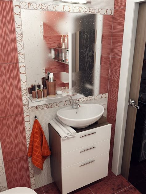 red white bathroom small bathroom design