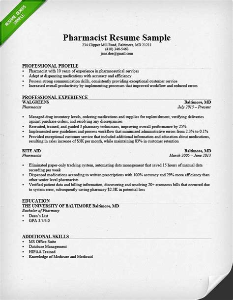 Resume Template Pharmacist by Pharmacist Cover Letter Sle Resume Genius