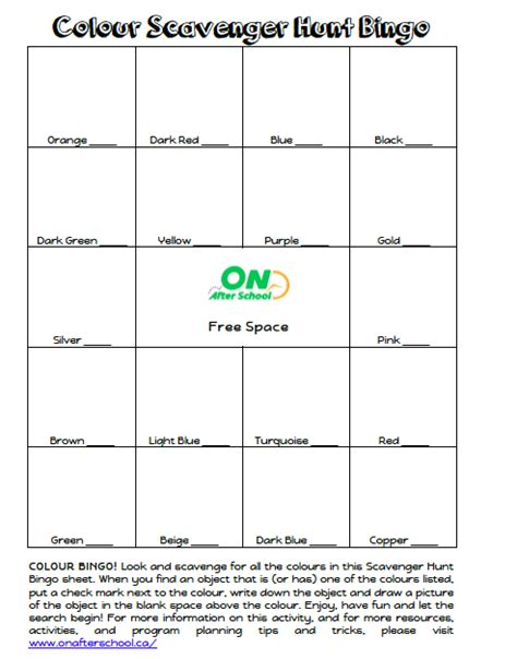 scavenger hunt card template scavenger hunt bingo after school program activity