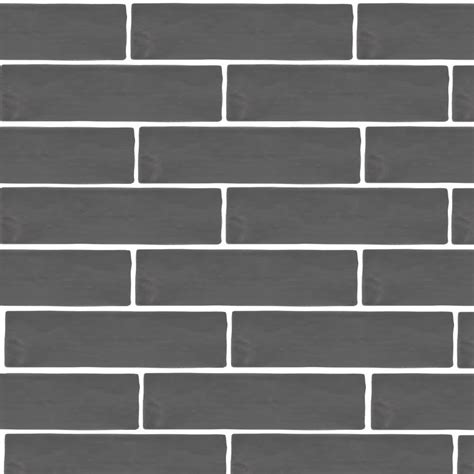 mileto brick grey gloss ceramic wall tile 75 x 300mm pack of 25