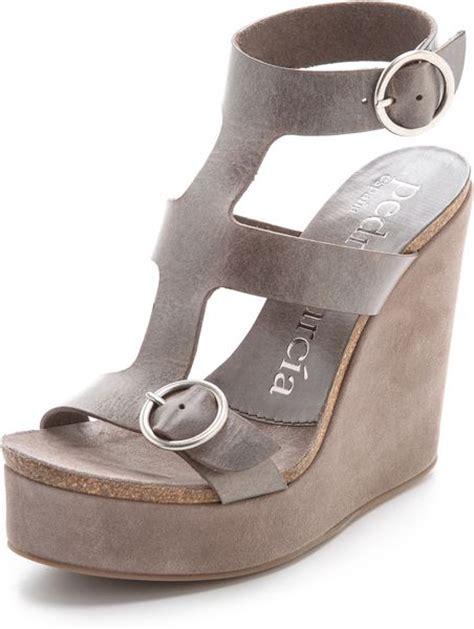 pedro garcia adriel wedge sandals in gray grey lyst