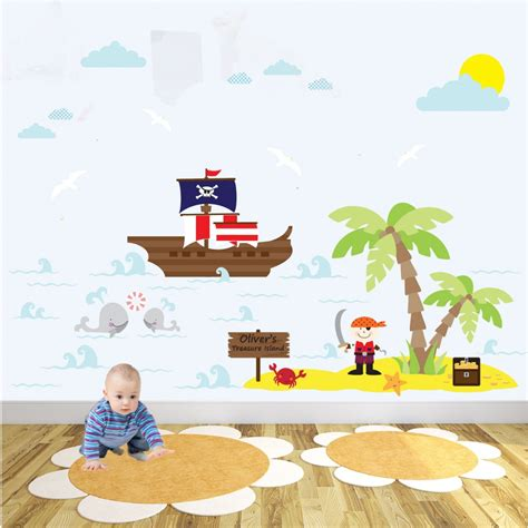 pirate ship wall stickers delux pirate nursery wall sticker