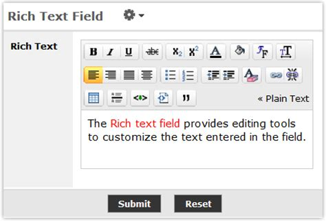html format vs rich text configuring a rich text field