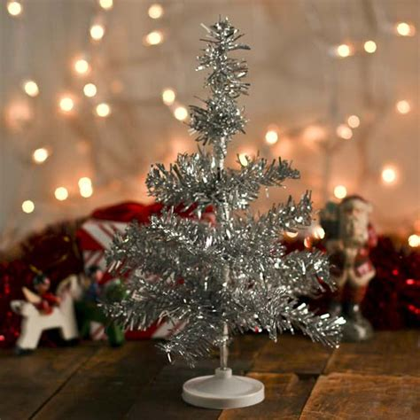 10 quot miniature retro silver tinsel christmas tree