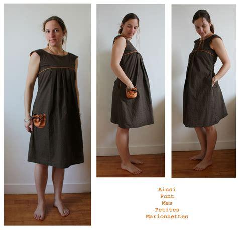 Patron Robe Empire Femme Enceinte - robe grossesse marron orange1 photo de jupes et robes