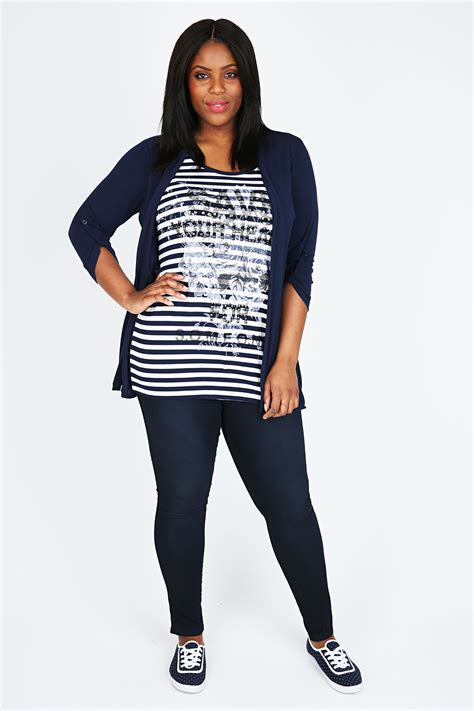 Navy Stripe 1 navy white 2 in 1 jersey top with stripe print plus size