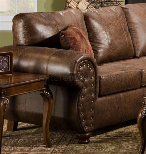 brown smokey leather like microfiber classic sectional sofa
