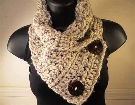 crochet scarf crochet cowl crochet button by villayarndesigns