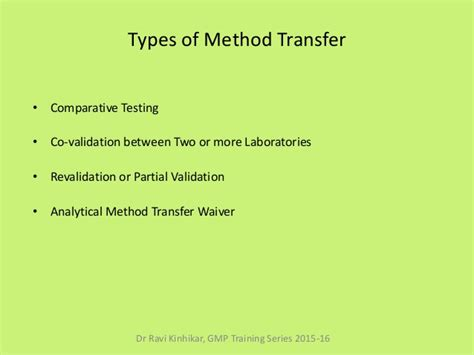 Analytical Method Transfer Module 01 Analytical Method Transfer Protocol Template