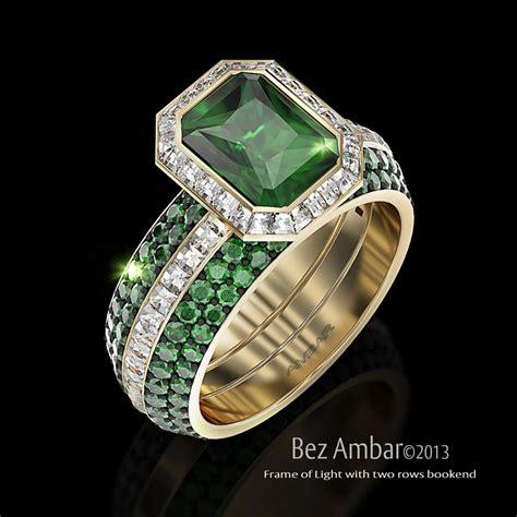 green emerald wedding ring set frame of