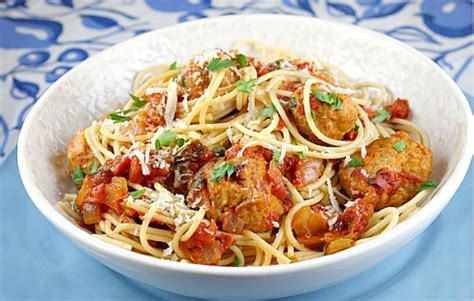 turkey meatballs with quick and spicy tomato sauce and the food you crave spaghetti with turkey meatballs in